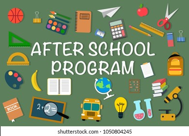 Set of school items icons with text After School Program on green. Eps vector illustration, horizontal image, flat design.