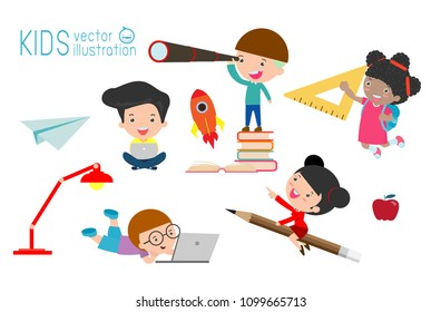 Set of school kids in education concept, back to school template with children, child go to school, back to school, Vector Illustration.