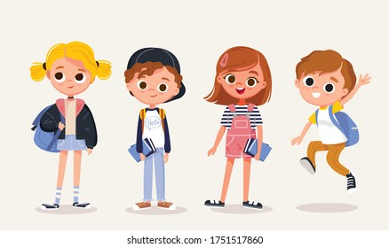 Set of school kids with school supplies.Pupils with books and backpacks. vector.Set of preschoolers children teenagers characters in different poses,clothes,wear. Children fashion models.Kids apparel.