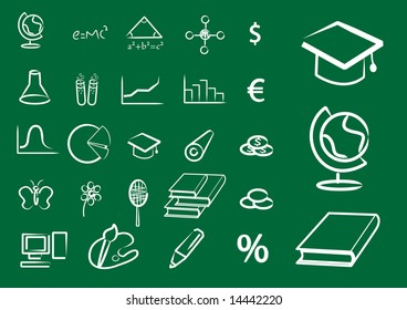 Set of school and lesson icons