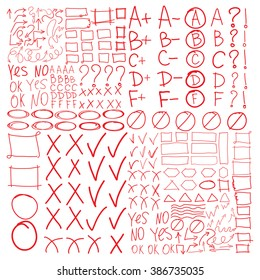 Set of school marks, circle, scribbles,  highlight frames elements, check, underlines, curves, zigzags arrows symbols, square and rectangles borders. Collage grades, triangles, yes, no, ok signs.
