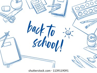 Set of school objects arranged on a desk from top view. Back to school concept. Hand drawn line art cartoon vector illustration