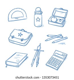 Set of school objects, as book, pair of comasses, pencils, calculator, school bag, protractor and bottle. Hand drawn line art cartoon vector illustration.