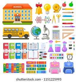 Set of school objects and elements. School building, bus, pens and pencils, books and microscope. Vector illustration for education design.