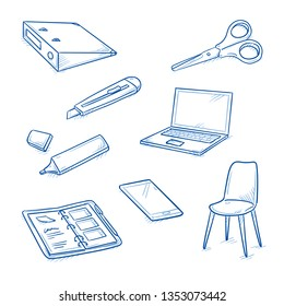 Set of school and office objects, as bender, chair, laptop, scissors, highlighter, phone, personal planner and cutter. Hand drawn line art cartoon vector illustration.