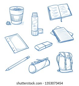 Set of school and office objects, as encyclopedia, pencil, glue stick, rubber, pouch, back pack, paper, spiral notebook and waste basket. Hand drawn line art cartoon vector illustration.