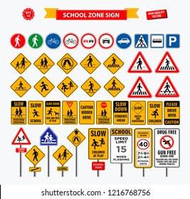 Set of school sign zone, pedestrian, and other street school zone.