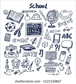 Set of school stuff hand drawn vector illustration with globus bell computer calculator pen pencil bag rubber and scissors isolated on bright backdrop