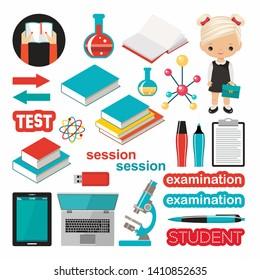 Set of school subject. Study, students. Vector