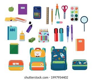 A set of school supplies. Bright school pencil case, backpack, stationery.  Pen, pencil, scissors, ruler, eraser, sharpener, paint.  September 1, back to school.  Vector illustration.