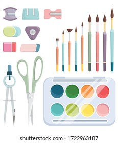 Set of school supplies. Colorful objects in cartoon style.
