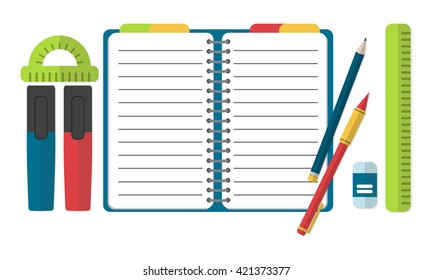 Set of school supplies, education objects for your design. Vector illustration.