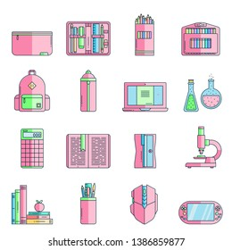 Set of school supplies or stationery icons in flat color line style. Back to school thin outline icons: pen case, pencil box, backpack, laptop, books, sharpener, flask, microscope, calculator