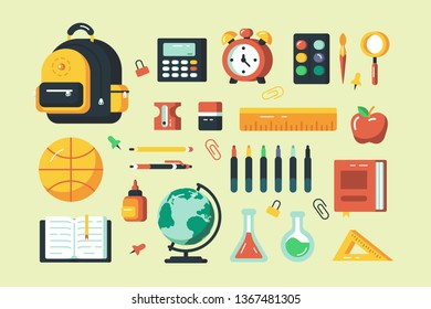 Set of school supplies vector illustration. Different learning accessories consist of bag, transporter, ruler and red apple flat style design. Happy scholarship concept isolated on pale yellow