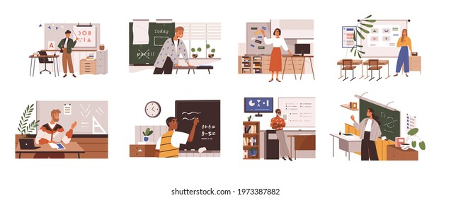 Set of school teachers standing at blackboards and whiteboards in classroom. Lecturers teaching in class. Professors at chalkboards. Colored flat vector illustration isolated on white background