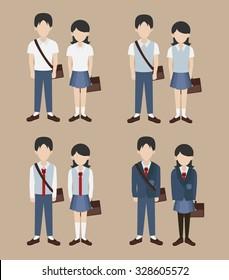 set of school uniform vector