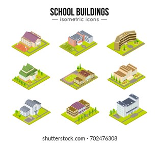 Set of school university or college building isometric design vector illustration