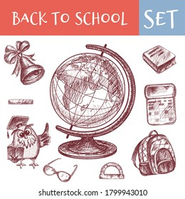 Set of school vector icons. School supplies. vector hand drawn elements. The globe. Wise owl shows a wing. Calculator. School bell