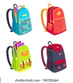 Set of schoolbags for kids side view, open and closed backpacks with stationery accessories isolated on white. Rucksack with pockets and fasteners