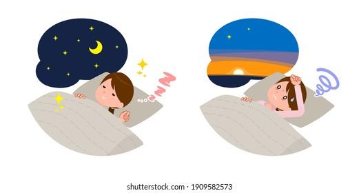 A set of schoolgirl Good sleep and insomnia.It's vector art so easy to edit.