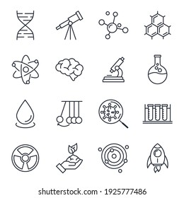 Set of Science elements icon. Science pack symbol template for graphic and web design collection logo vector illustration