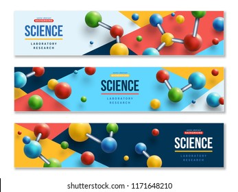 Set of science horizontal banners with colorful 3d molecules on modern geometric background. Vector illustration.