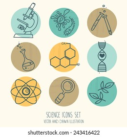 set of science icons in hand drawn cartoon style, vector illustration
