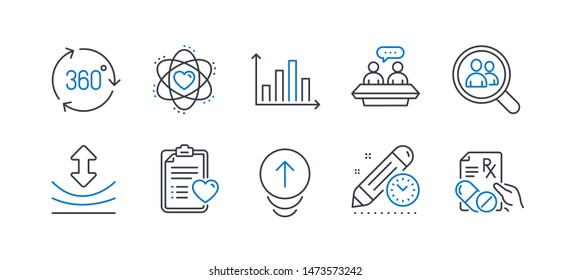 Set of Science icons, such as Diagram graph, Atom, Patient history, 360 degree, Search employees, Employees talk, Resilience, Swipe up, Project deadline, Prescription drugs line icons. Vector