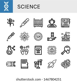 Set of science icons such as Dna, Needle, Thermometer, Cradle, Scientist, Dictionary, Syringe, Robot, Education, Knowledge, School, Flask, Brain, History book, Chip , science