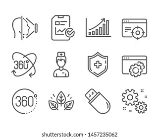 Set of Science icons, such as Doctor, Medical shield, Usb stick, Seo gear, Work, Report checklist, Seo targeting, 360 degrees, Full rotation, Organic tested, Face id, Graph chart. Doctor icon. Vector