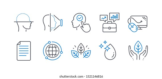 Set of Science icons, such as Face scanning, Face id, Select user, File, Business portfolio, Organic tested, Water drop, Globe, Computer mouse, Fair trade line icons. Line face scanning icon. Vector