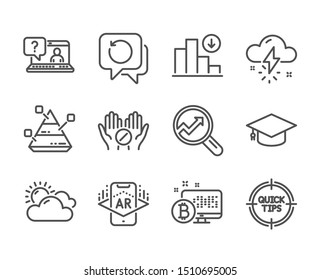 Set of Science icons, such as Faq, Sunny weather, Thunderstorm weather, Tips, Pyramid chart, Medical tablet, Augmented reality, Decreasing graph, Bitcoin system, Recovery data, Analytics. Vector