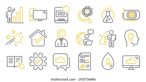 Set of Science icons, such as Gpu, Cloud storage, No alcohol symbols. Graph chart, Copyrighter, Idea head signs. Coronavirus research, Service, Chemistry lab. Report document, Computer. Vector