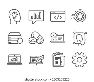 Set of Science icons, such as Medical drugs, Head, Idea head, Online documentation, Seo script, Copyright laptop, Seo timer, Online statistics, Medical analyzes, Service, Recovery server. Vector