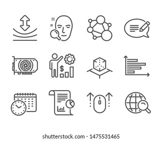 Set of Science icons, such as Message, Employees wealth, Horizontal chart, Calendar time, Integrity, Gpu, Face search, Resilience, Swipe up, Internet search, Report, Augmented reality. Vector