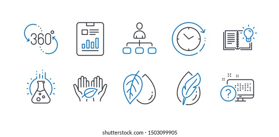 Set of Science icons, such as Mineral oil, 360 degree, Product knowledge, Hypoallergenic tested, Management, Chemistry lab, Report document, Time change, Fair trade, Online quiz. Vector