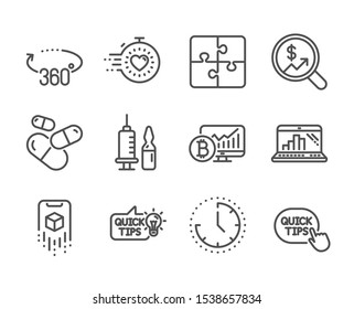 Set of Science icons, such as Puzzle, Augmented reality, Education idea, Currency audit, Capsule pill, Bitcoin chart, Time, 360 degrees, Quick tips, Timer, Medical vaccination line icons. Vector