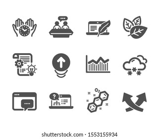 Set of Science icons, such as Snow weather, Cogwheel, Organic tested, Chemical formula, Seo message, Money diagram, Safe time, Online help, Copyright laptop, Swipe up, Employees talk. Vector