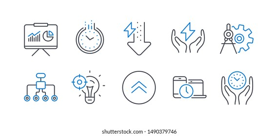 Set of Science icons, such as Time, Energy drops, Cogwheel dividers, Seo idea, Swipe up, Time management, Restructuring, Safe energy, Presentation line icons. Clock, Power usage. Vector