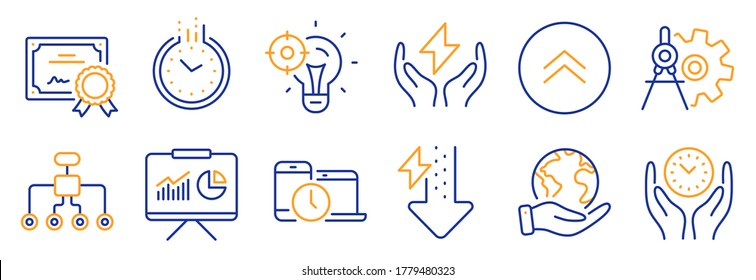 Set of Science icons, such as Time, Energy drops. Certificate, save planet. Cogwheel dividers, Seo idea, Swipe up. Time management, Restructuring, Safe energy. Presentation line icons. Vector