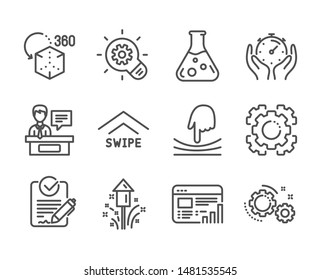 Set of Science icons, such as Timer, Cogwheel, Fireworks, Elastic, Web report, Augmented reality, Gears, Seo gear, Exhibitors, Chemistry lab, Rfp, Swipe up line icons. Timer icon. Vector