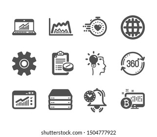 Set of Science icons, such as Trade chart, Web traffic, Online statistics, Timer, Service, Full rotation, Medical prescription, Servers, Idea, Globe, Time management, Bitcoin system. Vector