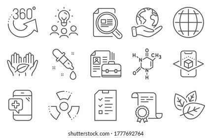Set of Science icons, such as Vacancy, Chemistry pipette. Diploma, ideas, save planet. Interview, Chemical formula, 360 degrees. Medical phone, Check article, Chemical hazard. Vector