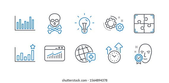 Set of Science icons, such as World medicine, Gears, Chemical hazard, Bar diagram, Idea, Website statistics, Puzzle, Time management, Efficacy, Face verified line icons. Vector