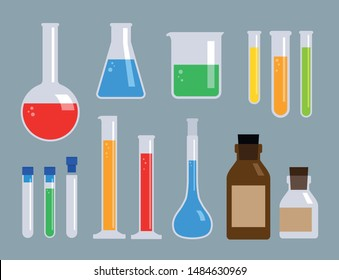 set of science laboratory glasswares and equipments, flask, beaker, bottle and test tube, vector illustration