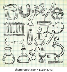 set of science object in doodle style