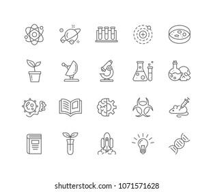 Set von Science-Skizze-Symbolen einzeln auf weißem Hintergrund.