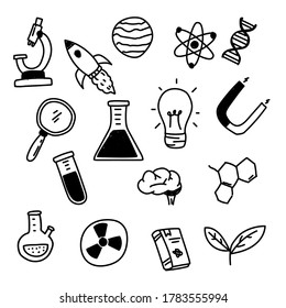 Set of science related vector draw in doodle style isolated on white background