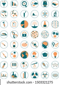 Set of scientific icons and logos. Biology, Chemistry, Astronomy, Physics and laboratory equipment.
