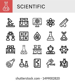 Set of scientific icons such as Chemical, Microscope, Test tube, Quantum, Atomic, Blood sample, Bioengineering, Periodic table, Erythrocytes, Flask, Science, Scientist , scientific